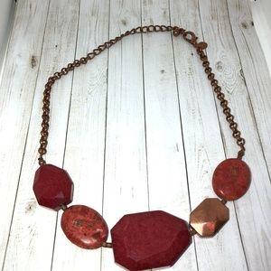 CHICO'S Red Jasper Coppertone Chain Necklace